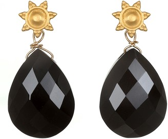 Satya Goldtone Black Onyx Sun Drop Earrings