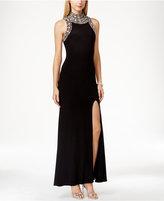 Betsy & Adam Mock-Neck Jewel-Trim Sleeveless Dress