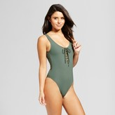 Xhilaration Women's Rib Lace Up One Piece