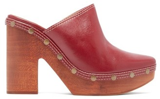 Jacquemus Sabots Leather Clog Mules - Womens - Burgundy