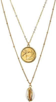 American Coin Treasures Gold Plated Hummingbird Coin with Gold Trimmed Cowrie Shell Double Chain Necklace