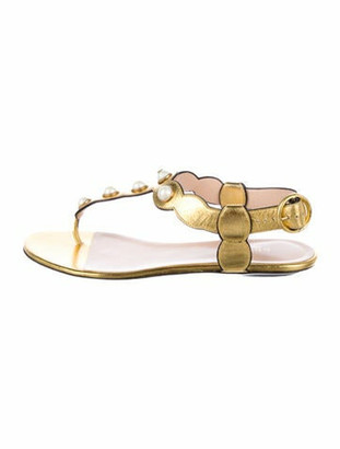 Gucci Willow Faux Pearl Accents T-Strap Sandals Gold