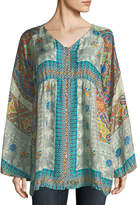 Johnny Was Mocity Button-Front Printed Silk Georgette Tunic
