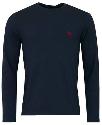 Emporio Armani Embroidered Eagle Long Sleeved T-shirt Colour: BLACK AN
