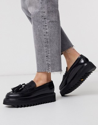 Grenson Brie black leather chunky loafers
