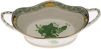 Herend Chinese Bouquet Green Large Basket with Handles