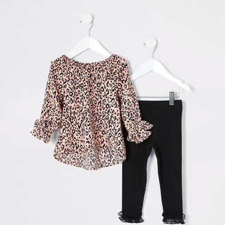 River Island Mini girls Pink leopard print blouse outfit