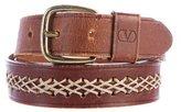 Valentino Whip-Stitch Leather Belt
