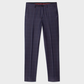 Paul Smith Men's Mid-Fit Indigo Wool Check Trousers