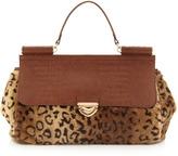 Rolled-Strap Faux-Fur Satchel Bag, Brown