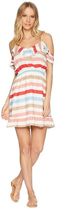 BB Dakota Meredith Beach Ball Stripe Printed Dress (Hibiscus Red) Women's Dress