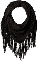 D&Y Women's Solid Boucle Square Scarf with Exagerated Fringe Trim