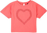 European Culture HEART-DETAILED JERSEY T-SHIRT-PINK SIZE 10