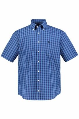 JP 1880 Men's Big & Tall Checked Shirt Navy XXXXX-Large 748469 75-5XL