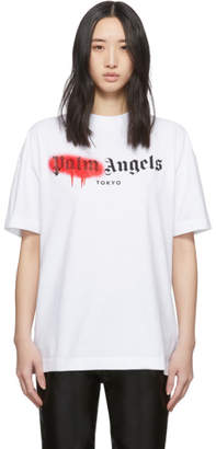 Palm Angels White and Red Tokyo Sprayed T-Shirt