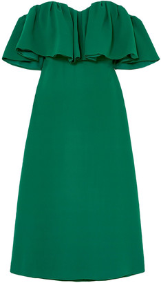 Lela Rose Off-the-shoulder Ruffled Silk-crepe Midi Dress