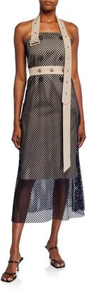 Rokh Mesh-Layered Trench Halter Dress