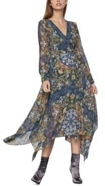 BCBGMAXAZRIA Printed Chiffon Wrap Dress