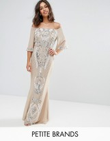 Maya Petite Allover Embellished Bandeau Maxi Dress With Balloon Sleeves