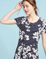 Joules Womens Madison Short Sleeved Jersey Tunic in French Navy Posy Stripe