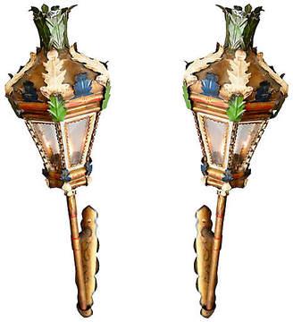 One Kings Lane Vintage Venetian Processional Lanterns - Set of 2 - Faded Rose Antiques LLC - gold/multi