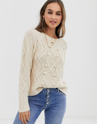 Pieces bobble detail cable knit jumper in oatmeal-Cream