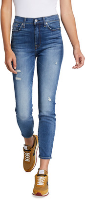 7 For All Mankind High-Rise Distressed Skinny Ankle Jeans