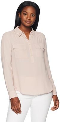 Lark & Ro Amazon Brand Women's Long Sleeve Sheer Utility Blouse