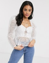 Asos Design DESIGN broderie corset top with lace up front