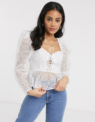 ASOS DESIGN broderie corset top with lace up front