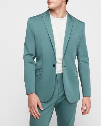 Express Slim Teal Solid Cotton-Blend Performance Suit Jacket