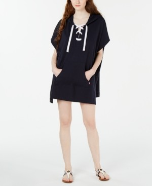 Tommy Hilfiger Lace-Up Hooded Poncho Cover-Up Women's Swimsuit
