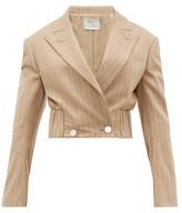 Hillier Bartley Pinstripe Wool-blend Cropped Jacket - Womens - Beige Multi