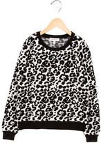 Milly Minis Girls' Leopard Patterned Crew Neck Sweater