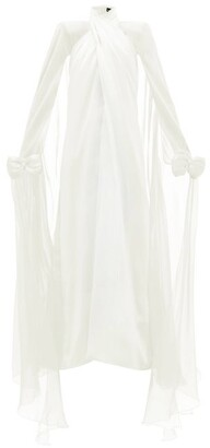 Richard Quinn Bow-embellished Silk-georgette Gown - Womens - Ivory