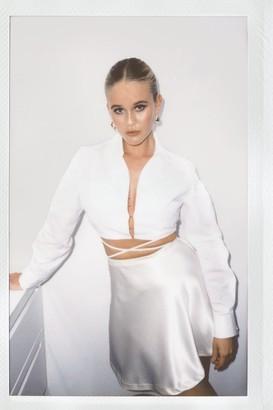 Nasty Gal Womens Sleek Me Close Satin Mini Skirt - White - 4