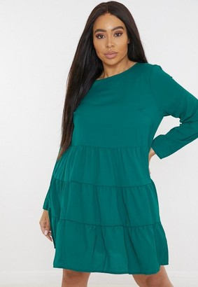 Missguided Plus Size Green Tiered Smock Dress