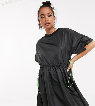 Collusion t-shirt nylon mini dress in black