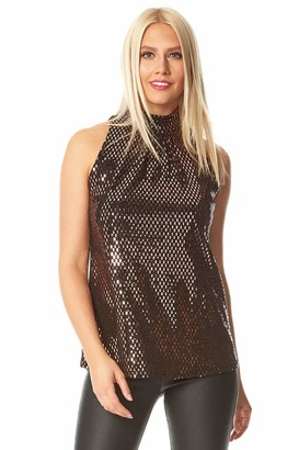 Roman Originals Women High Neck Shimmer Embellished Top - Ladies Christmas Party Evening New Years Eve Special Occasion Going Out Sequin Glitter Sparkle Sleeveless Tops - Bronze - Size 18