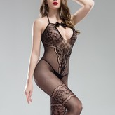 Aerusi Women's Intimate, Sexy Mesh And Intricate Lace Body Stockings Lingerie Sleepwear