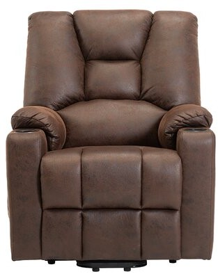 Red Barrel Studioâ® Corban Power Glider Recliner with Massage and Heating Red Barrel StudioA Fabric: Brown