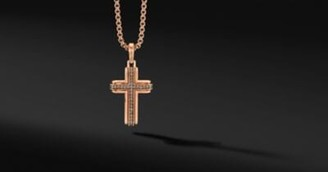 David Yurman Deco Cross Pendant In 18K Rose Gold With Pave Cognac