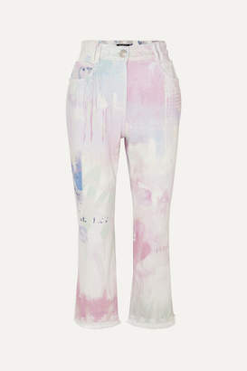 Balmain High-rise Acid-wash Flared Jeans - White