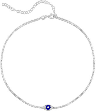 Sphera Milano 14K Over Silver Cz Evil Eye Tennis Choker Necklace