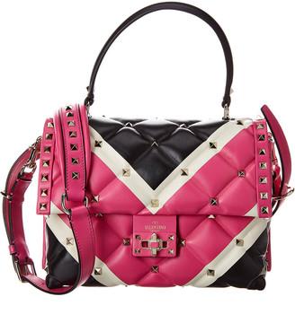 Valentino Candystud Leather Top Handle Shoulder Bag
