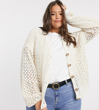 In The Style Plus x Lorna Luxe knitted cardigan in cream