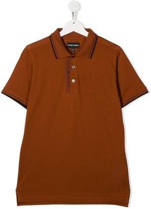 Emporio Armani Kids Logo Print Detail Polo Shirt
