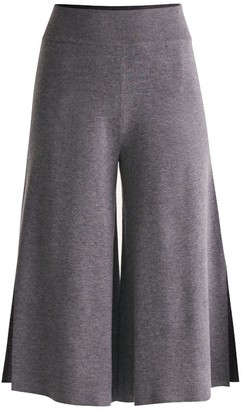 Paisie Knitted Culottes With Contrasting Side Stripe In Dark Grey & White