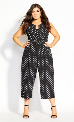 City Chic Polka Dot Jumpsuit - black