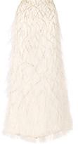 Alice + Olivia Ashton Feather-trimmed Embellished Tulle Maxi Skirt - Ivory